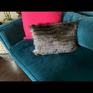 Charcoal/dark gray lumbar pillow fringe